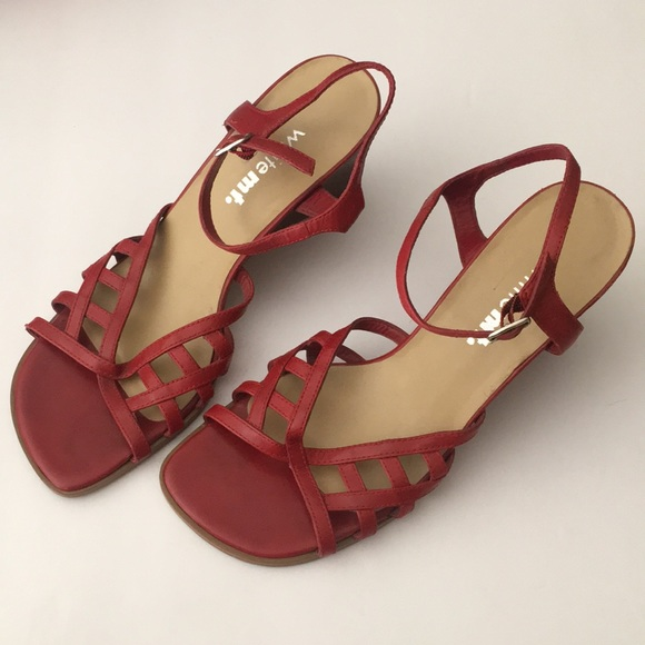 """White Mountain Shoes - White Mt. red """"Sonny"""" ankle wedges"""